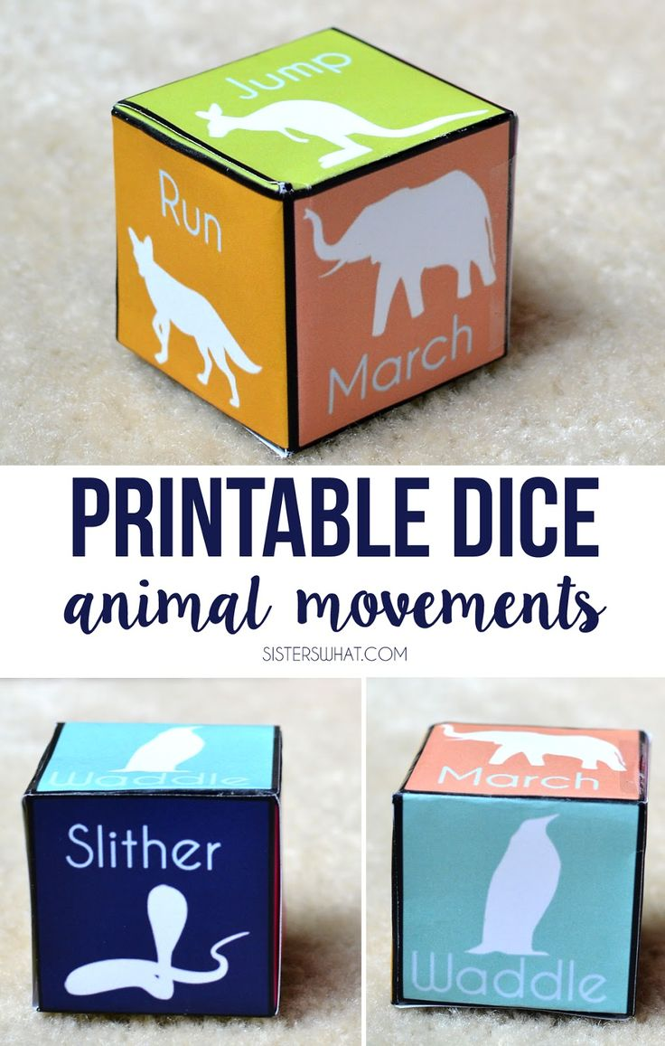 these printable animal movement dice would be perfect for rainy days.