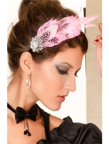 Pink Pearl Feather And Rhinestone Hair Hoop- a rhinestones flower on the side.| Headgear | Accesories | StringsAndMe