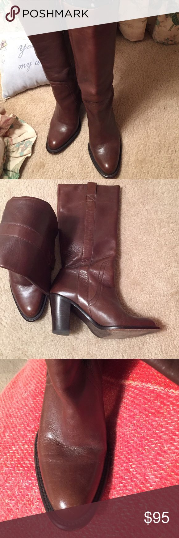 Banana Republic brown leather cowboy style boot Banana Republic brown leather cowboy style boot with pull up loops. All leather upper and sole. In fabulous condition. Banana Republic Shoes Heeled Boots