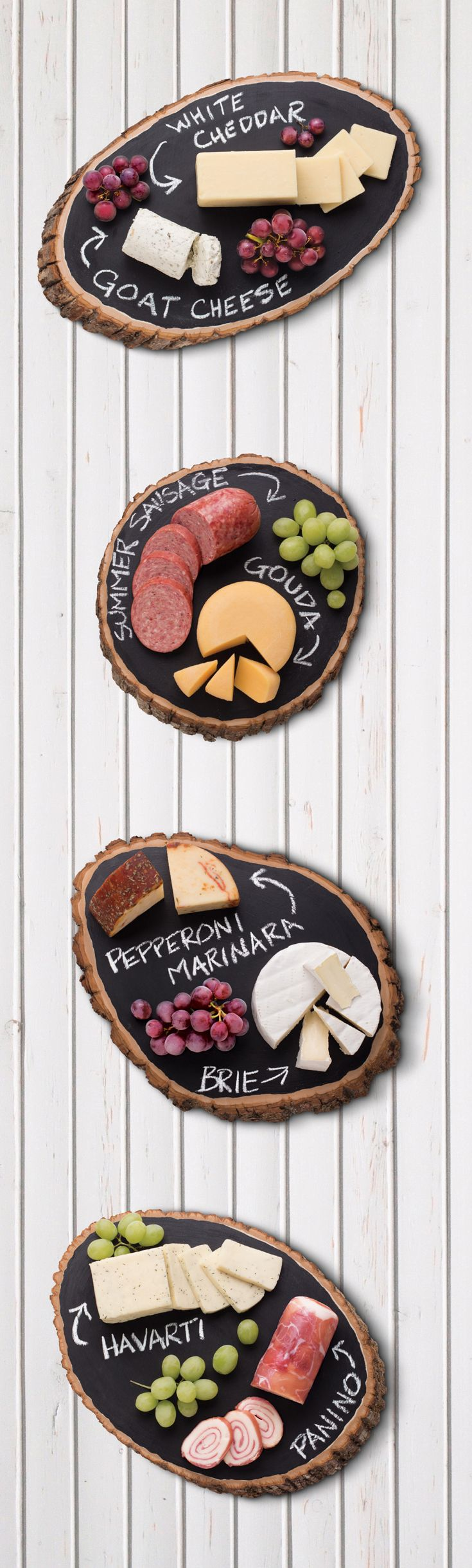 Cheese boards with a summer spin - try cuts of natural materials like wood for a unique, outdoorsy presentation.