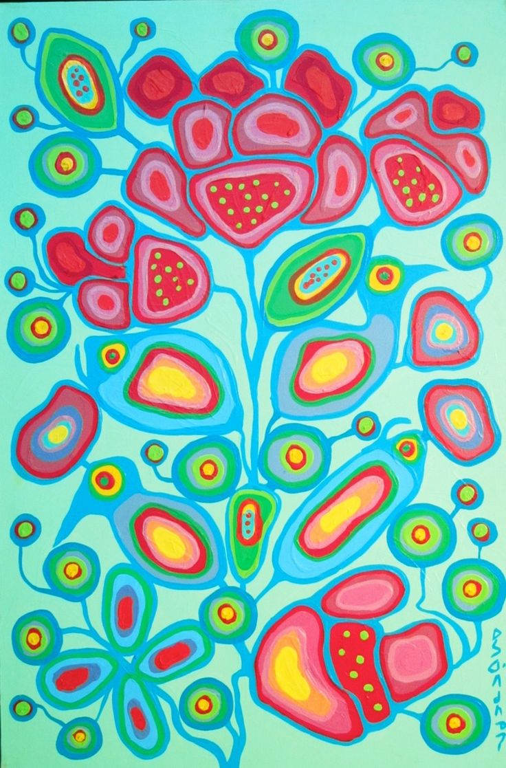 Norval Morrisseau - Flowers, Fish & Birds
