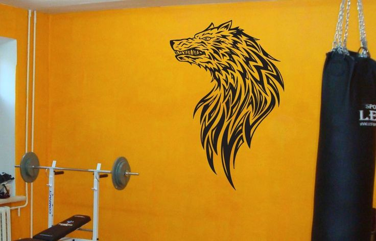 Tribal Wolf Tattoo Sticker Wolf Animal Wall Decal Mural Fitness Room Gift #147 #HomeOfStickers