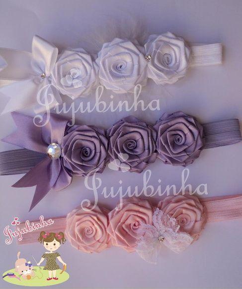 Trio de rosas! Finalizado na faixa ou na tiara! Faixas com regulagem cabe em todos os tamanho ate bebe! R$ 15,00