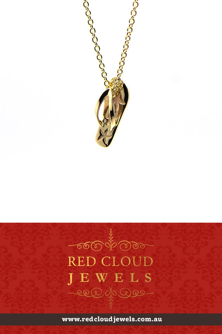 This necklace with a starfish thong (flip flop) is made of 9 carat yellow gold. Who said that jewellery can't be fun? | Outstanding Jewellery for Outstanding Individuals | www.redcloudjewels.com.au