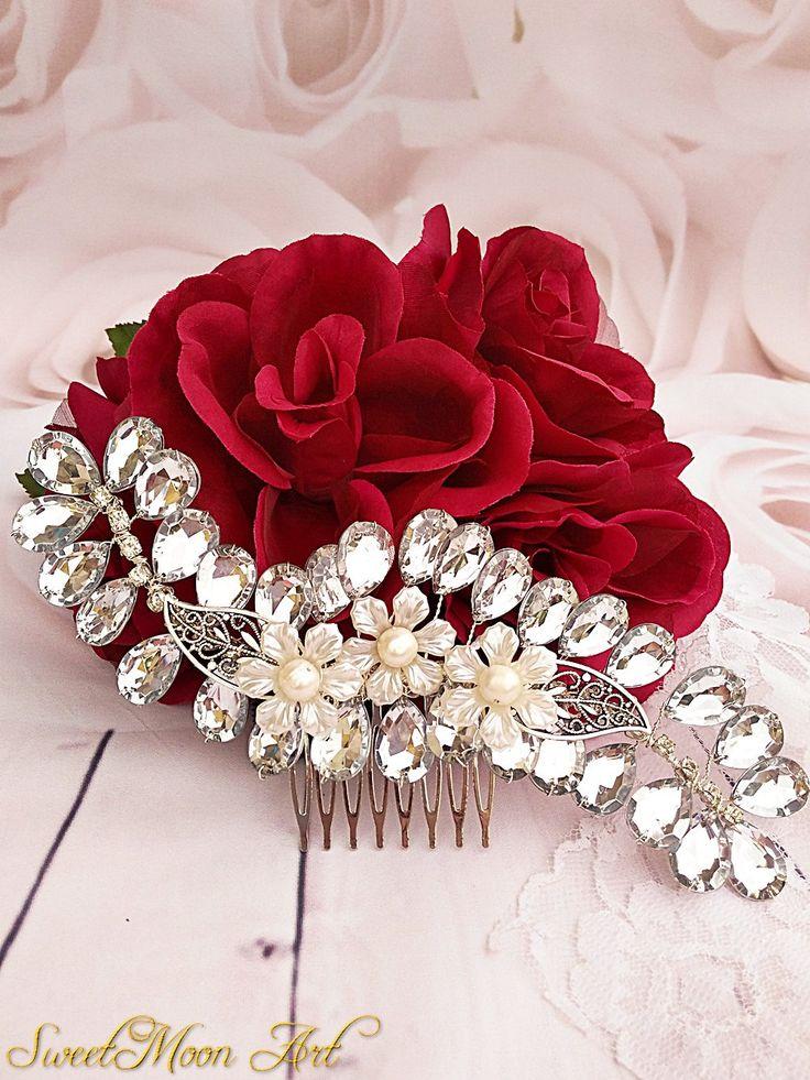 Peineta novia, peineta boda, accesorio pelo, tocado boda, peineta cristal, peineta, tocado novia, peineta rhinestone, peineta flores de SweetMoonArt en Etsy
