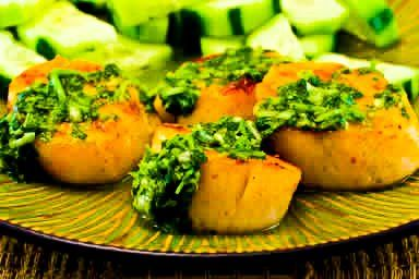This is a very old photo, but I still love these Grilled Sea Scallops with Paprika and Cilantro Salsa! #LowCarb #GlutenFree  [from KalynsKitchen.com]