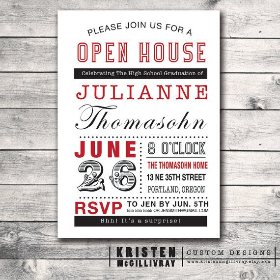 Graduation Party Chalkboard Invitation  DIY by KristenMcGillivray, $15.00