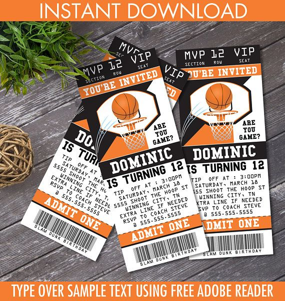 Personalize this printable BASKETBALL TICKET INVITATION with editable text. Then print & create as many times as you like.  ★★ NO physical item will be shipped!  $7.99