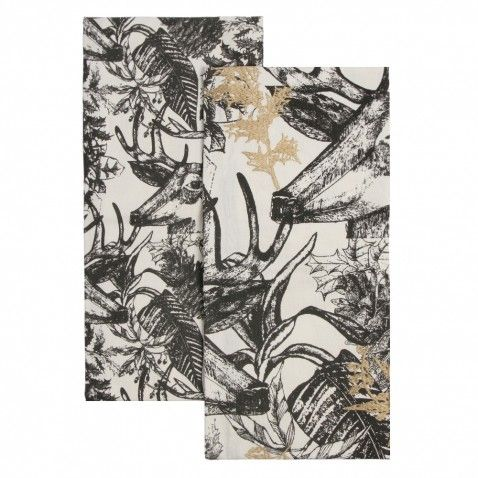 Woodland stag tea towels - set of 2
