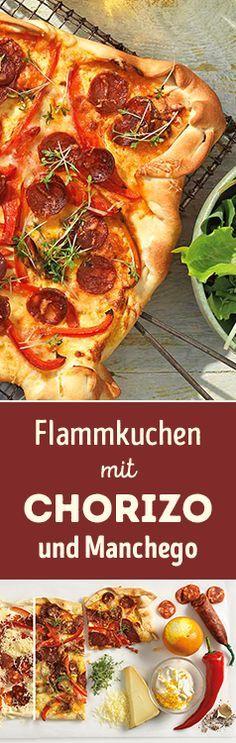 Ganz schön würzig: Flammkuchen mit Chorizo und Manchego-Käse