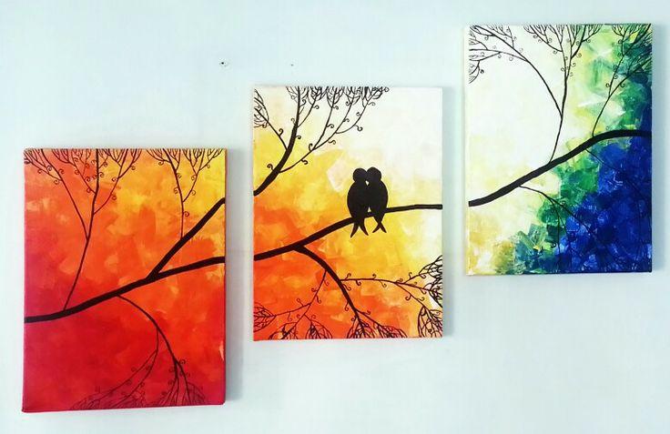 #painting #canvaspainting #lovdbirds #setof3 #setofthree #birdsonbranches #sunset #sunrise