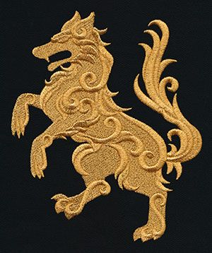 Gilded Heraldry - Wolf | Urban Threads: Unique and Awesome Embroidery Designs