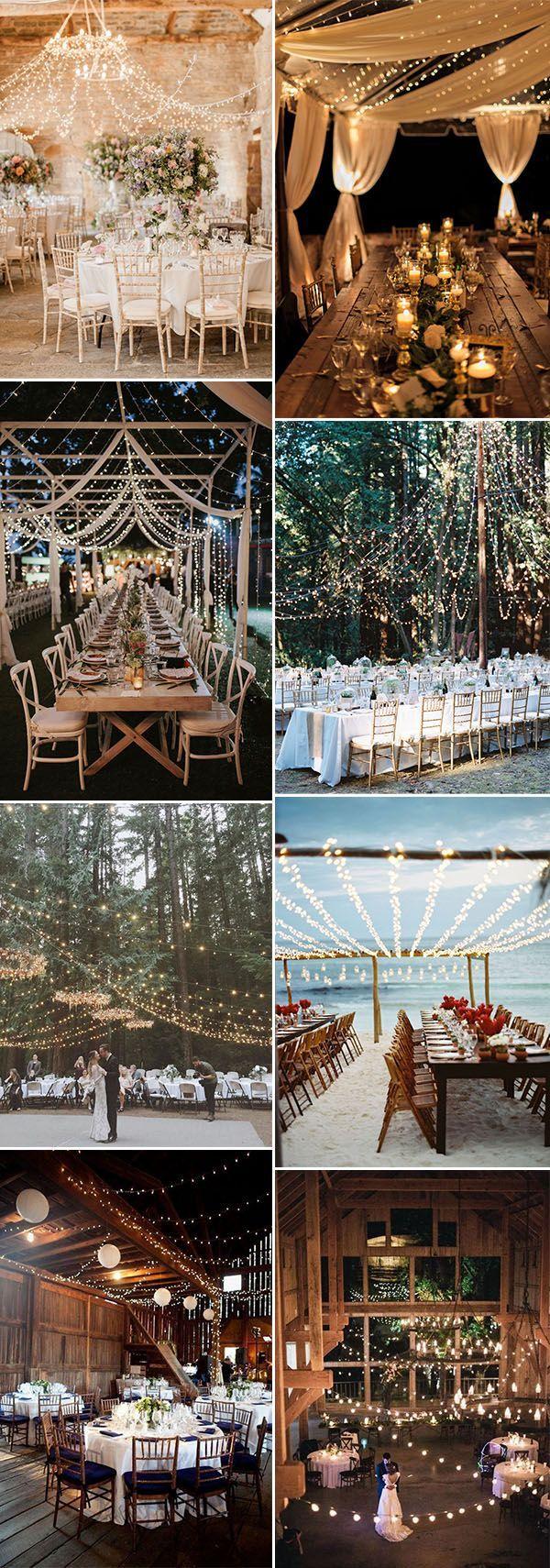 hanging string lighting wedding reception ideas