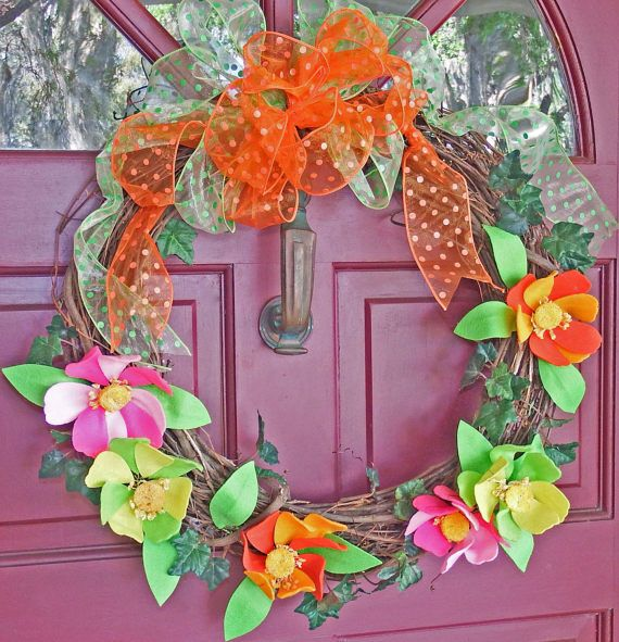 Spring and Summer wreath Felt flower wreath colorful floral