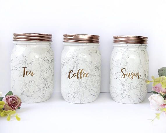 Tea Coffee Sugar Canisters Rose Gold Accessories Rose Gold