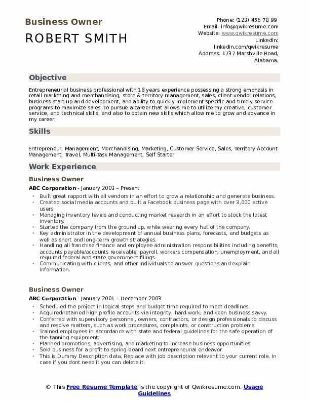 Business Owner Resume Samples Qwikresume Job Resume Examples Executive Resume Business Resume