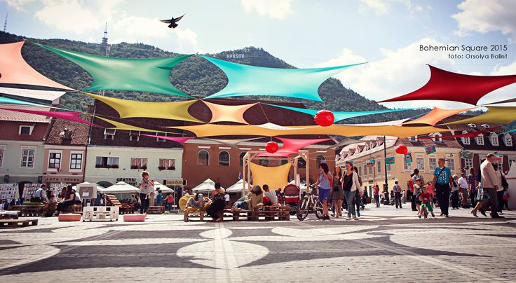 """Another summer installation. This time in Brasov, Romania, for Bohemian Square Festival. I called it """" squares in squares""""."""