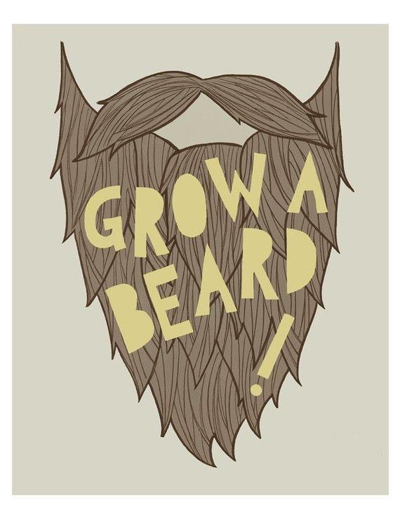 8x10  Grow A Beard Print by poppyandpinecone on Etsy, $18.00