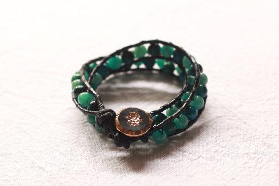 Green leather double wrap bracelet by TipToeTulipJewellery on Etsy, $50.00
