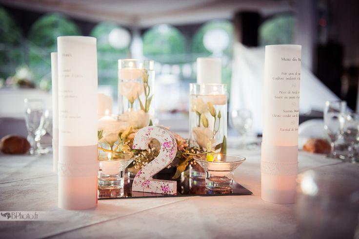 Centre de table pour votre mariage: menu calque transparent, pot en verre, bougie led, canson et dentelle