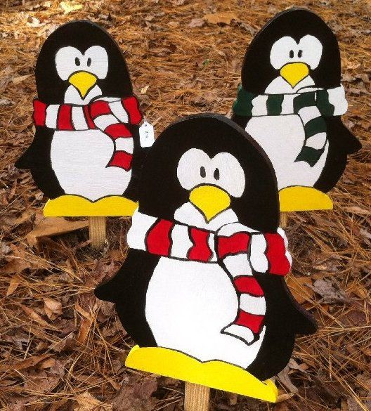 Penguins with Scarf and Hat Wooden Christmas Yard Decoration Hand Painted