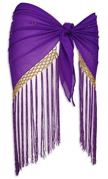 V Shape Fringe Belly Dance Hip Scarve Purple