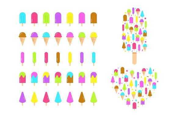 Set of Ice Cream Icons by Nadezda Gudeleva on @creativemarket