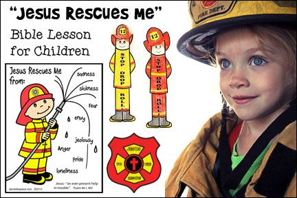 """""""Jesus Rescues Me"""" Fireman-themed Bible Lesson for children from www.danielllesplace.com - Great for Children's Ministry"""
