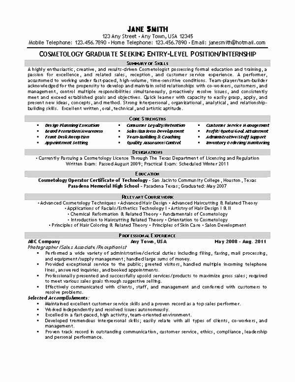 Cosmetology Resume Templates Free Elegant Beautician Cosmetologist Resume Hair Esthetician Resume Resume Examples Job Resume Template