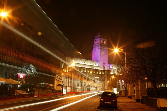 Leeds University at Night, Leeds, West Yorkshire.