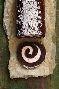 christmas food. peppermint cake roll