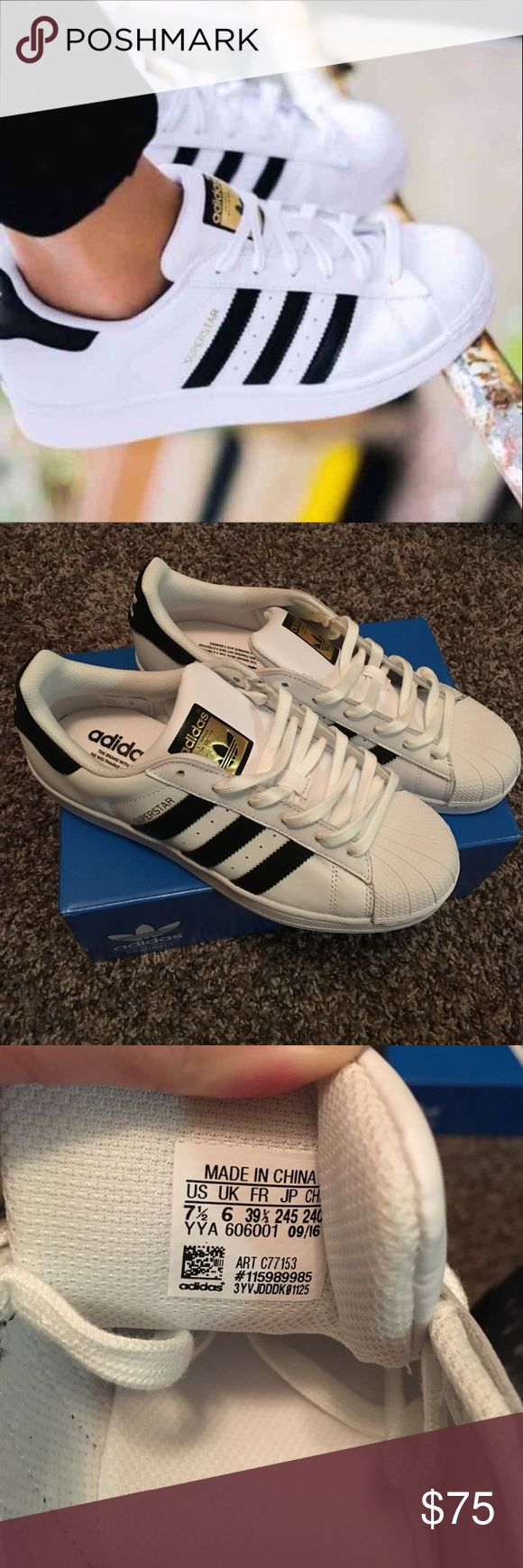 BRAND NEW Adidas Superstars New out of box, never been worn. Got them as a wonderful gift but they're unfortunately too big. They have a very small customization on the left shoe only which is why they are discounted. Could be easily covered up with black shoe paint or peeled off if you know how to do that. Adidas Shoes Sneakers