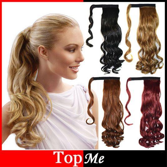 Pop Vrouwen Hair Extensions Lange Natuurlijke Golvend Krullend Paardenstaarten Bruin Blonde Clip In Lady Paardenstaart Haarstukken Haarverlenging