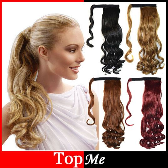 Pop Women Hair Extensions Long Natural Wavy Curly Ponytails Black Brown Blonde Clip In Lady Ponytail Hairpieces Hair Extension