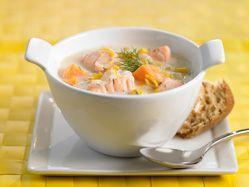 Recettes - Chaudrée au maïs, aux patates douces et au saumon - - Fondation des maladies du cœur et de l'AVC