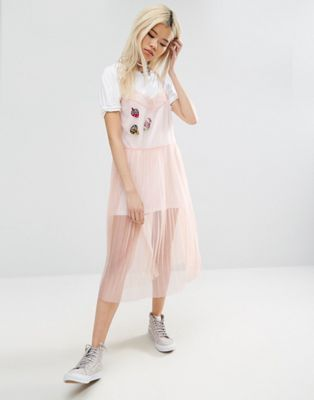 Shoptagr | Asos Mesh Pleated Slip Dress With Badges by Asos Collection #fashion #trend #design #style #onlineshop #shoptagr