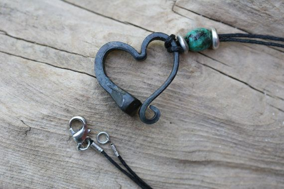 Horse shoe nail necklace, Hand forged heart necklace, Iron jewelry, Iron Anniversary Gift, 6th Anniversary