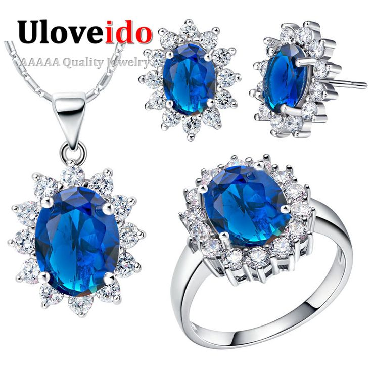 5 Colors Blue Ocean Heart Titanic Silver Plated Jewelry Sets for Women Necklace/Earrings/Rings Wedding Jewelry Sets Brincos T466