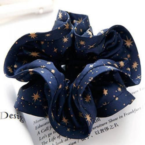 Patterned Chiffon Hair Tie Blue - One Size