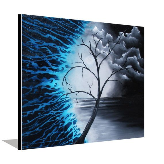Blue and black painting tree painting landscape painting for Painting on black canvas tips