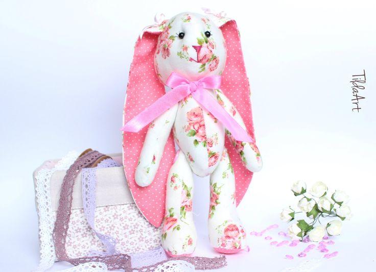Flower stuffed bunny, Sweet stuffed animal toy, Fabric bunny girl, Pink stuffed bunny, Gift for girl - READY TO SHIP! by TildaArt on Etsy