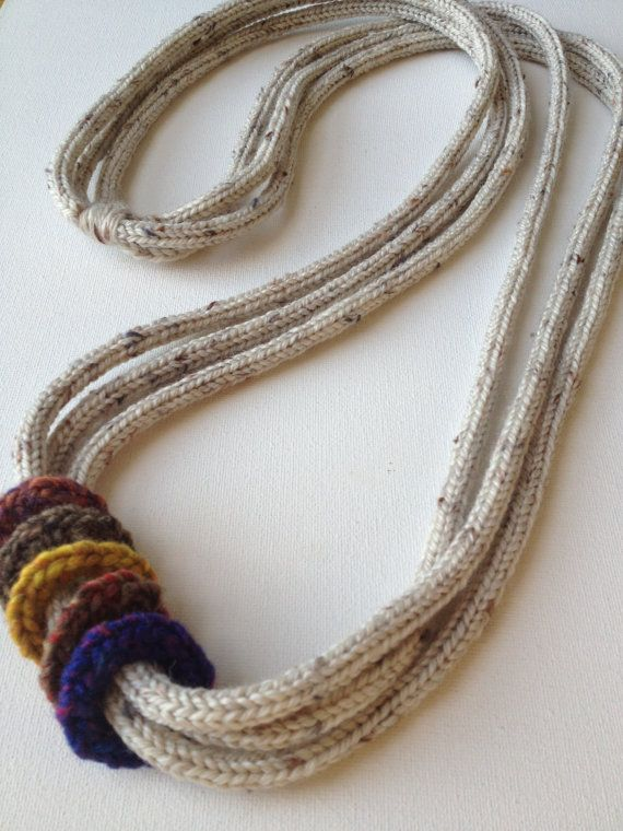 Statement Pure Wool Necklace in Stone Color by CoffeeBeadTrail, $68.00