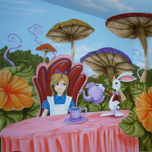 23 best images about alice in onederland birthday party for Alice in wonderland mural
