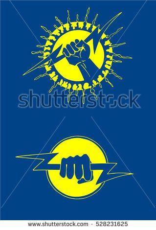 Lightning in the hand, abstract vector illustrations isolated on color background. Sign of Zeus,Father of all Gods.Ancient roman icon.