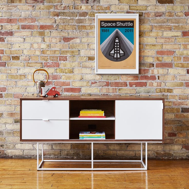 Emerson Media Stand | The Emerson Media Stand is a minimalist design that contrasts wood grain with smooth lacquer surfaces, creating a piece that is both timeless and contemporary. | Gus* Modern