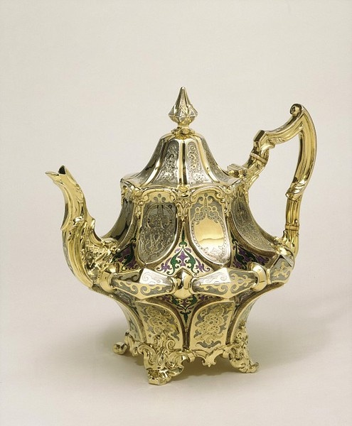 Teapot Place of origin: London (made) Date: 1850-1851 (hallmarked) Artist/Maker: Angell, Joseph (the younger) (maker) Materials and Techniques: Silver, with enamel decoration, parcel gilding and ivory