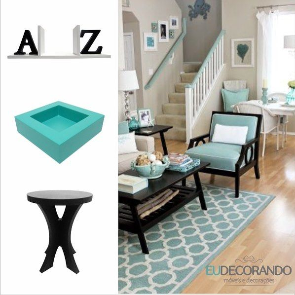 Aparador de livros AZ, cachepô cor Caribe, mesa de canto mestra 50 😍 www.eudecorando.com.br #instadesign #decor #decorar #eudecorando