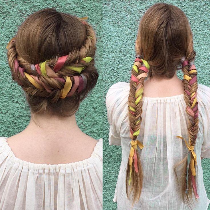 ✨More ribbon #braids, down and wrapped✨ #HTHG #freeyourhair #festivalhair #modernsalon #summerhair #summerbraids #behindthechair @like.the.tree #americansalon #btcpics
