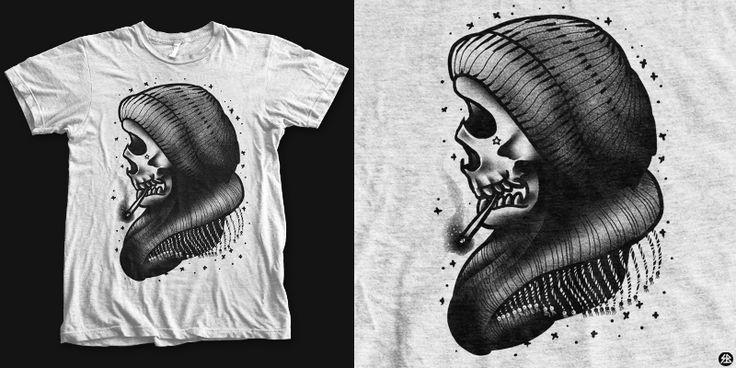 """winter skull"" t-shirt design by sebrodbrick"