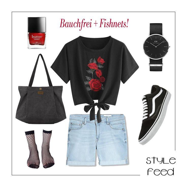 Der Fashionblogger-Trend des Sommers: Bauchfreie Knotenshirts mit Blumenstickereien, Jeansshorts, Fishnet Socks und Sneakern - einen Hingucker kannst du mit knallrotem Nagellack setzen. Bringe mit einer Uhr und coolen Tasche Klasse in das Outfit! Knotted Black Shirt with Roses Embroidery / Denim Shorts / Fishnet Socks / Sneaker Outfit / Grunge Style / Fashion Blogger / Trend Fashion / Summer Outfit / Sommer Mode / Shop the Look | Stylefeed